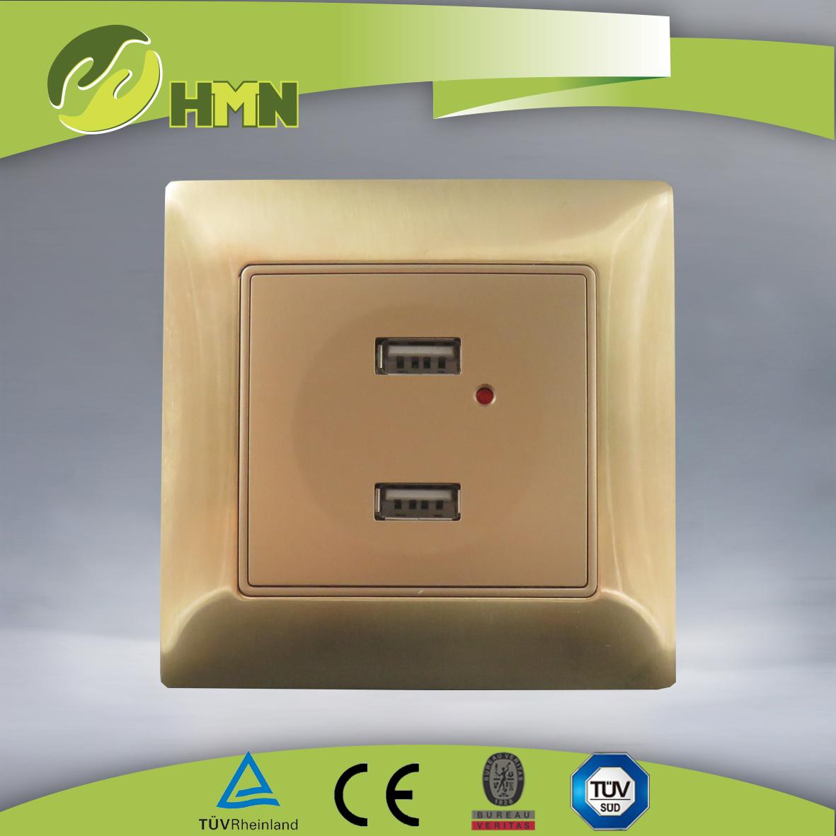 VZ188D Metal zinc double USB outlet