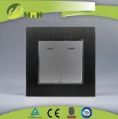 HA121N/HA122N Brushed Aluminum 2gang 1way/2way switch