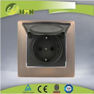 VZ159 Metal Zinc 1 gang dust cover schuko socket