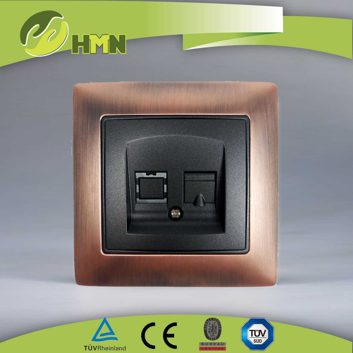 VZ124/VZ128 Metal Zinc 1gang tel/data socket